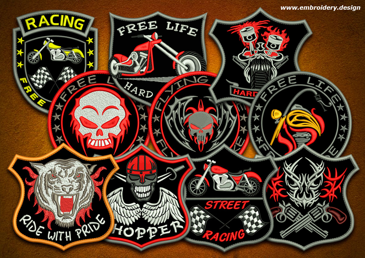 This Biker Patches Embroidery Designs Pack 4 Design Was Digitized And Embroidered By