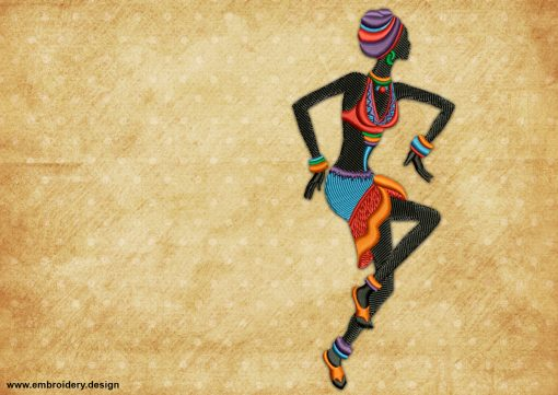 The embroidery design Active dancing girl will look great on different types of fabric