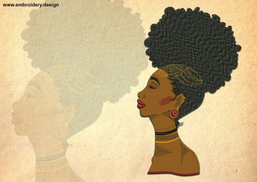 The embroidery design Africans profile