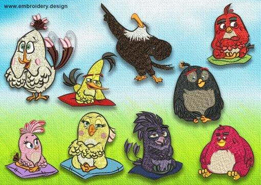The pack of embroidery designs Angry birds movie contains 9 designs. Each of them is provided in 2 sizes.