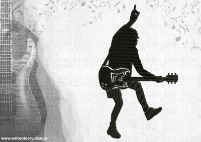 The embroidery design Angus Young, one of the founders of a famous rock band AC/DC.