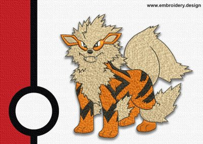 The embroidery design Arcanine pokemon