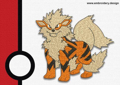 The embroidery design Arcanine pokemon