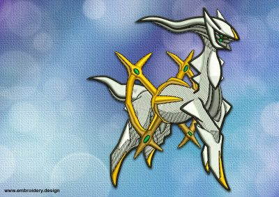 The embroidery design Arceus Pokemon was digitized in EmbroSoft Studio