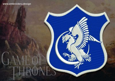 The embroidery design Patch Applique Arryn shield from Game of Thrones was digitized in EmbroSoft  Studio.