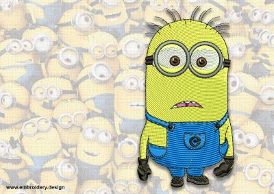 The embroidery design minion Astonished Phil