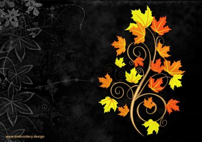 The embroidery design Autumn maple branch