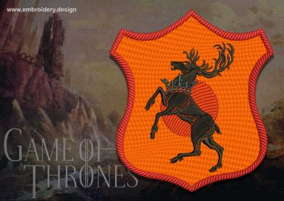 High quality of the embroidery design Patch Applique Baratheon shield from Game of Thrones is provided by EmbroSoft team.