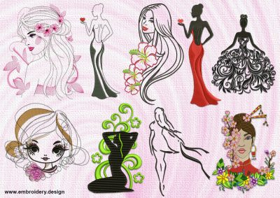 The pack of embroidery designs Beautiful girls contains 9 items.