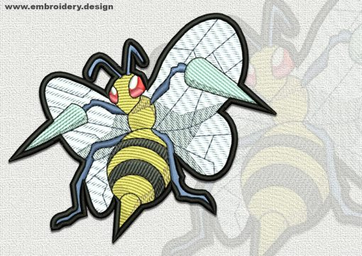 The qualitatively digitized embroidery design Beedrill pokemon