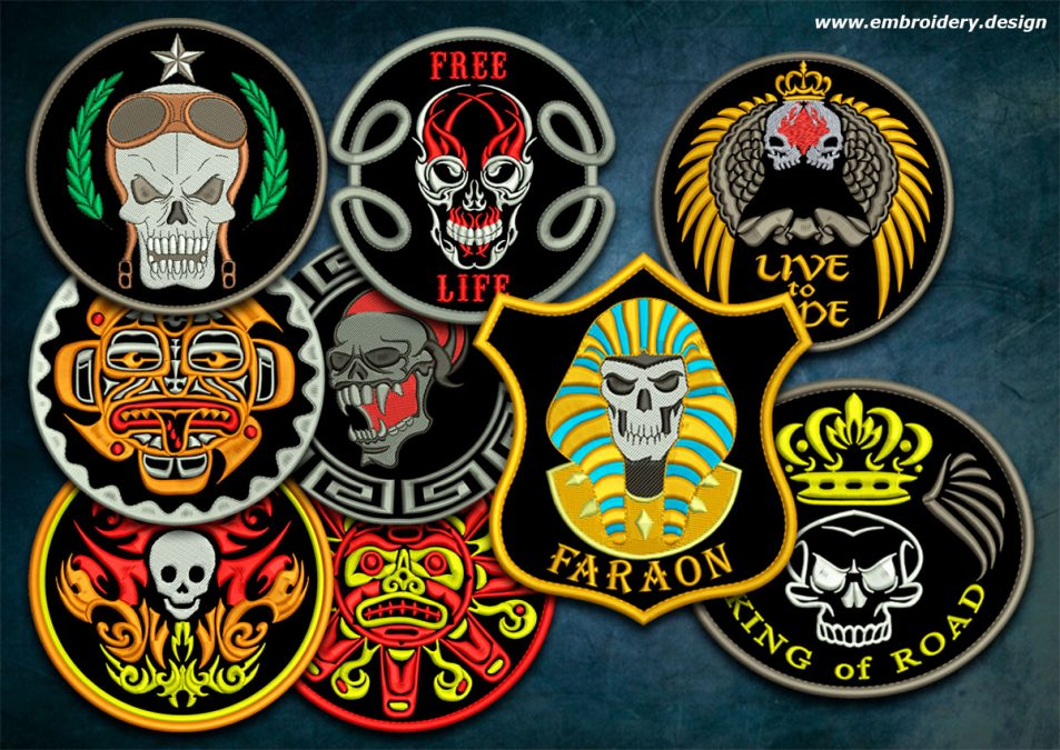 Biker patches embroidery designs pack #6