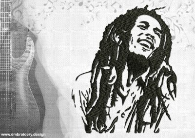 The embroidery design Bob Marley the warm and positive smile