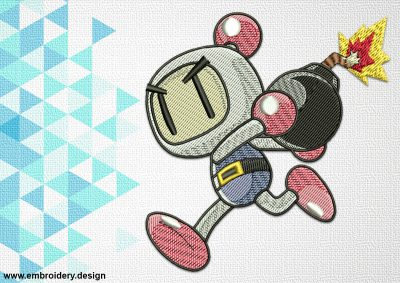 The embroidery design Bomberman will look great on different clothes