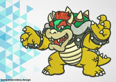 The embroidery design Bowser of The Mario Brothers provides in 3 sizes