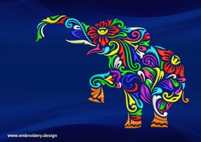 The embroidery design Bright stylized elephant
