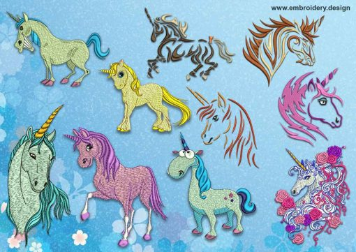 The pack of embroidery designs Bright unicorns