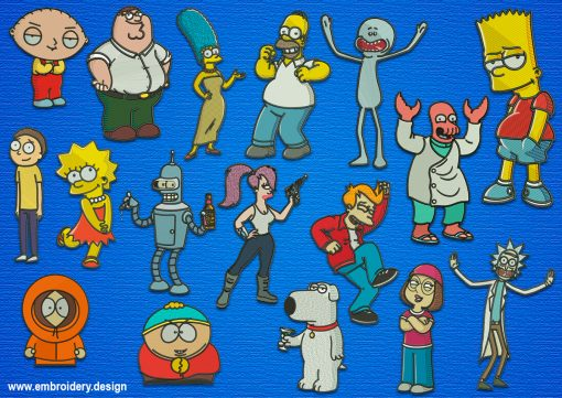 The pack of embroidery designs Cartoon Series Characters