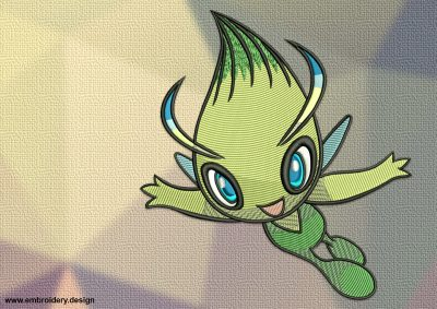 The embroidery design Celebi Pokemon will look great on contrast clothes