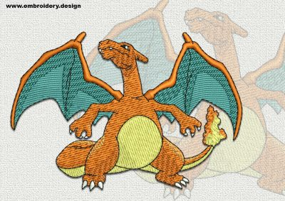 The qualitatively digitized embroidery design Charizard Pokemon