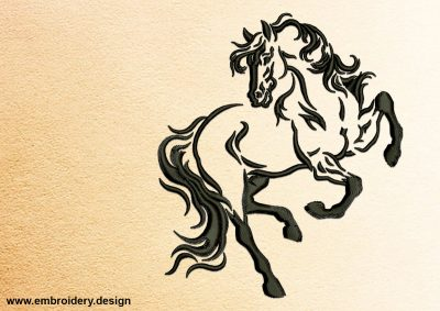 The embroidery design Cheerful Horse will look fantastic on your shirt, dress or jacket.