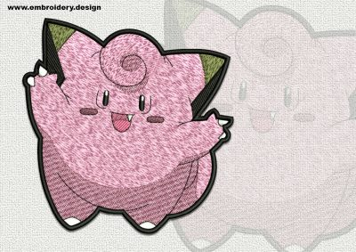 The qualitatively digitized embroidery design Clefairy Pokemon