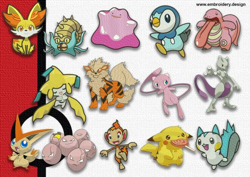 The pack of embroidery design Collection of pokemons