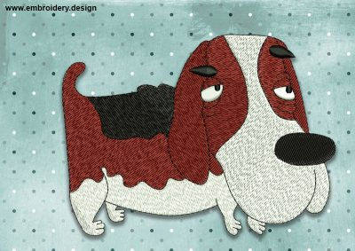 The embroidery design Cool dog basset hound was created by EmbroSoft