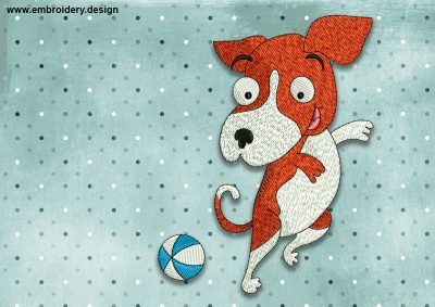 The embroidery design Cool Dog Beagle with ball  was created by EmbroSoft