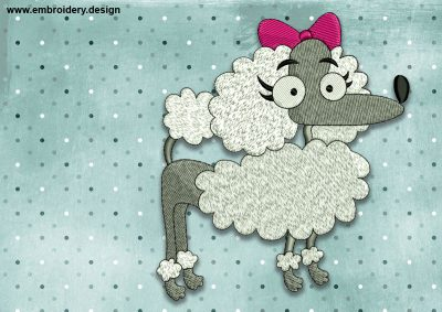 The embroidery design Cool Dog Poodle was created by EmbroSoft