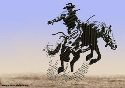 The embroidery design Cowboy on a running horse consists of very diverse elements