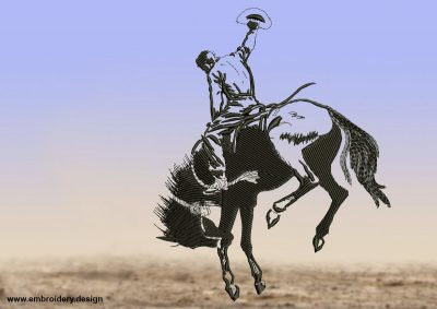 The embroidery design Cowboy riding on a stubborn mustang shows a cowboy trying to subdue his horse.