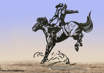 The embroidery design Cowboy subduing mustang contatins many various embroidering techniques