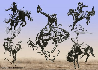 The pack of embroidery designs Cowboys taming obstinate horses includes 5 digital items.