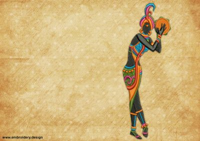 The embroidery design Dance with a tambourine, who dance for her beloved one.