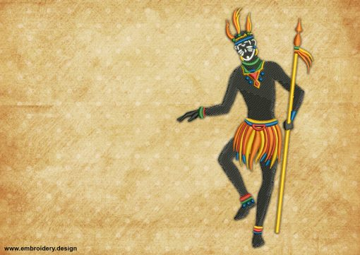 The embroidery design Dancer with spear depicts a hunter dancing a ritual dance