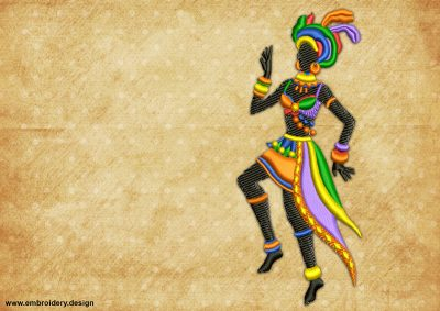 The embroidery design Dancing woman, who performs Samba dance