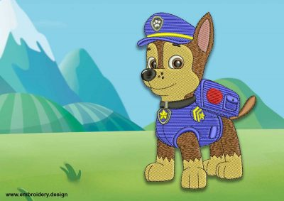 The embroidery design Cute dog Chase from Paw patrol