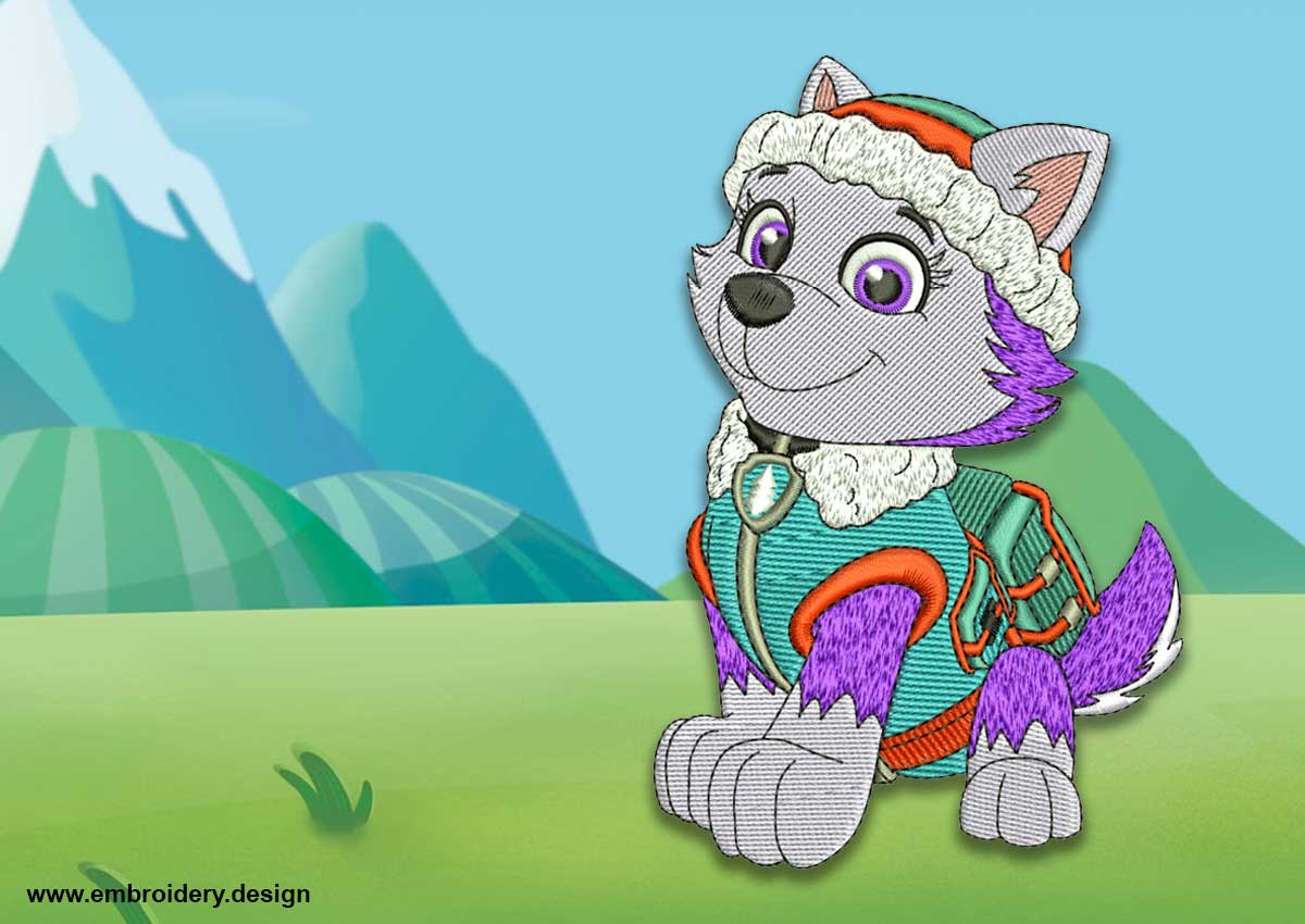 The Embroidery Design Cute Dog Everest From Paw Patrol