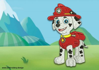 The embroidery design Cute dog Marshall from Paw patrol