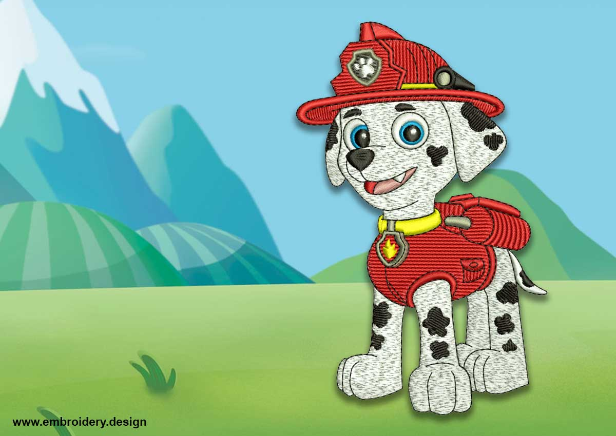 The embroidery design Cute dog Marshall from Paw patrol 1add68352