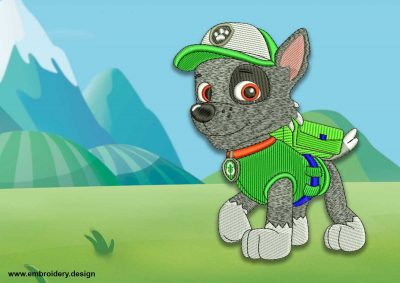 The embroidery design Cute dog Rocky from Paw patrol