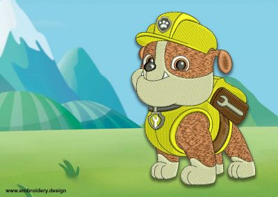 The embroidery design Cute dog Rubble from Paw patrol.
