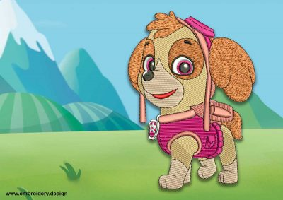 The embroidery design Cute dog Skye from Paw patrol