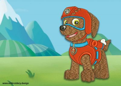 The embroidery design Cute dog Zuma from Paw patrol