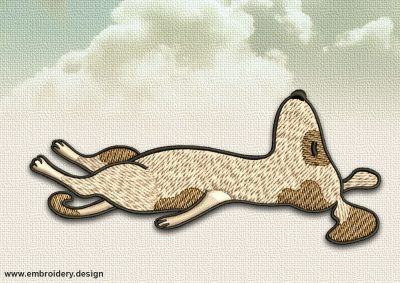 The embroidery design Dog in Shavasana depicts was creted in 8 embroidery formats by EmbroSoft.