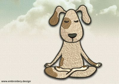 The embroidery design Dog in Siddhasana will decorate yoga clothes as stylish as everyday ones.