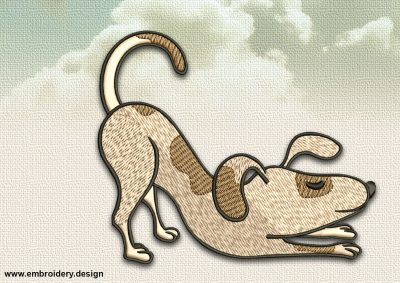 The embroidery design Dog in Uttana Shishosana was digitized and tested  in EmbroSoft Studio.