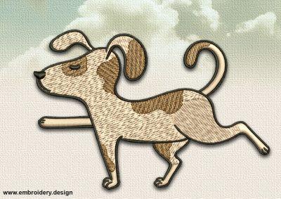 The embroidery design Dog in Virabhadrasana III can be embroidered on denim or gabardine fabric.