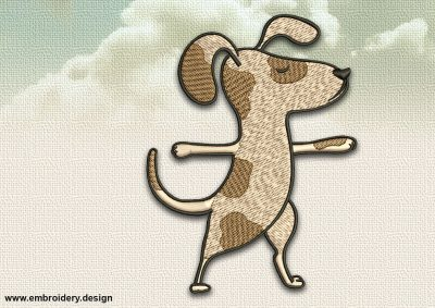 The embroidery design Dog in Virabhadrasana II  can be embroidered directly on any textile product.