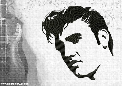 The embroidery design Elvis Presley depicts a simple portrait of this rock'n'roll superstar